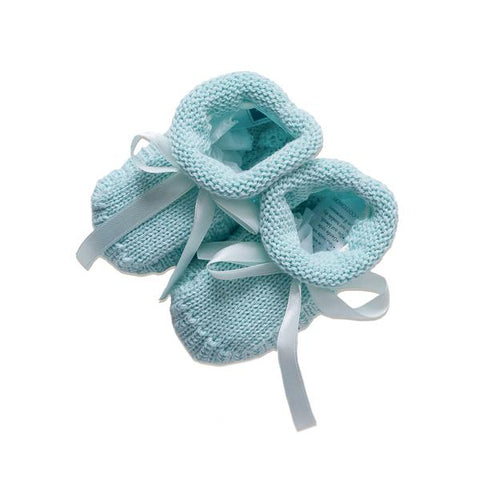 Knitted Booties ~ Aqua
