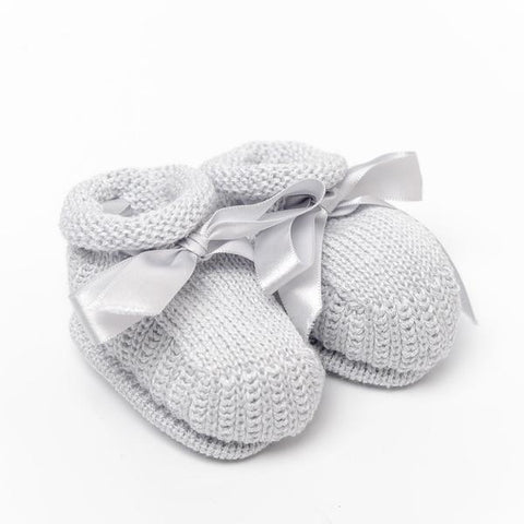 Knitted Booties ~ Grey