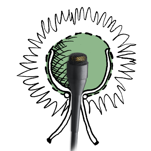 A bubble of dead air around the mic