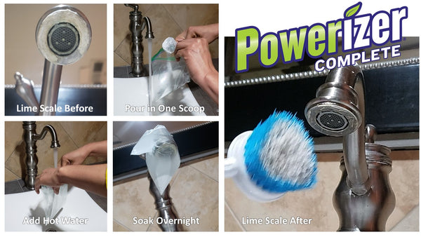 Sink Faucet Spout Covered in Lime Scale Before and After Image Soaked in Powerizer