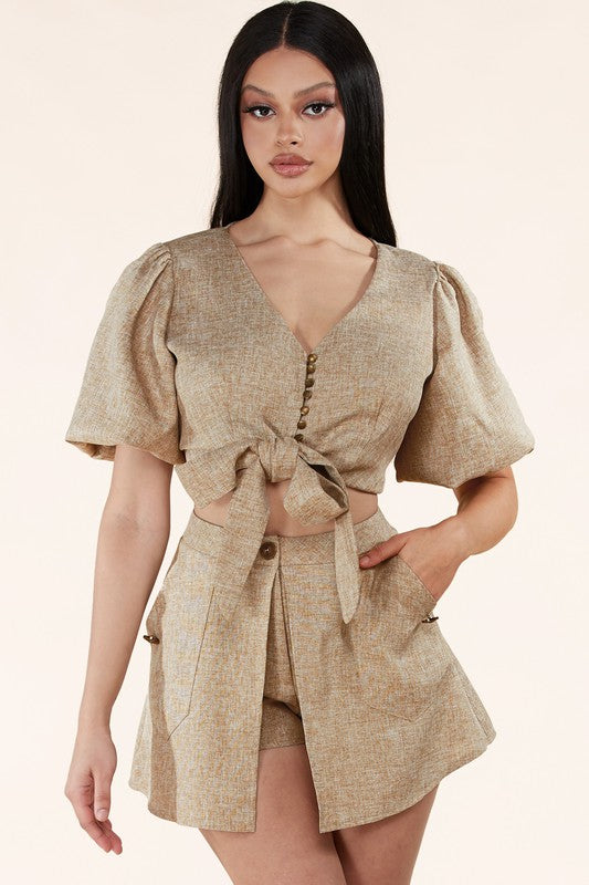 Light brown woven two-piece set
