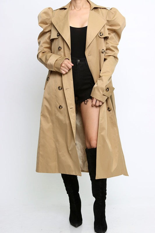 PUFFY SHOULDER LONG COAT-TIE BELT WITH LOOPS AT THE WAIST.