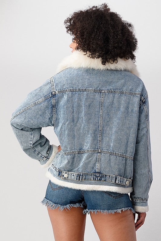 DENIM WITH FUR JACKET.