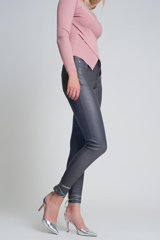 COATED PANTS IN GRAY.