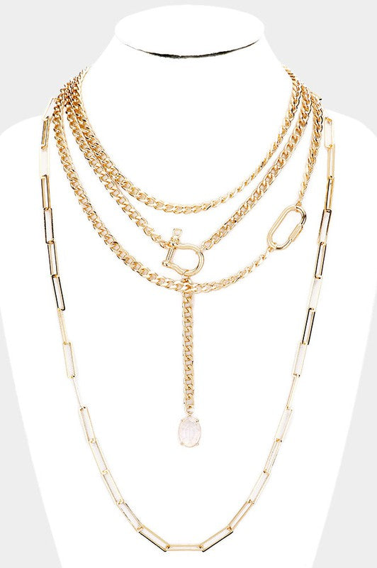 Oval Stone Metal Chain Layered Bib Necklace