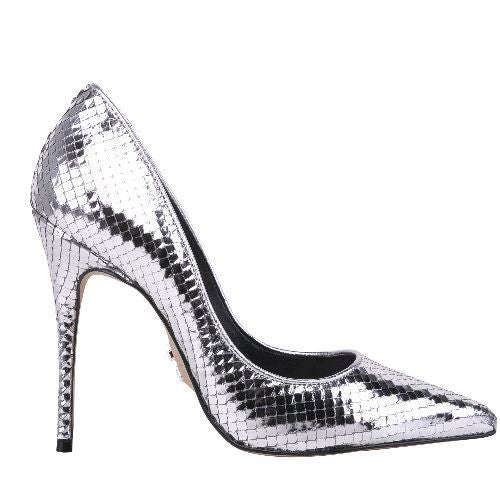 ALICE-STILETO PUMP EMBOS SNAKE LEATHER SILVER.