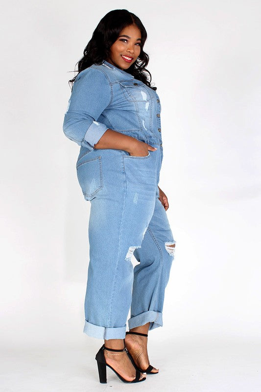 DENIM JUMPSUIT IN A RELAXED FIT