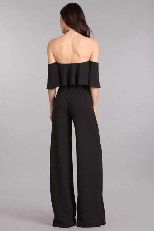SHOULDERLESS JUMPSUIT