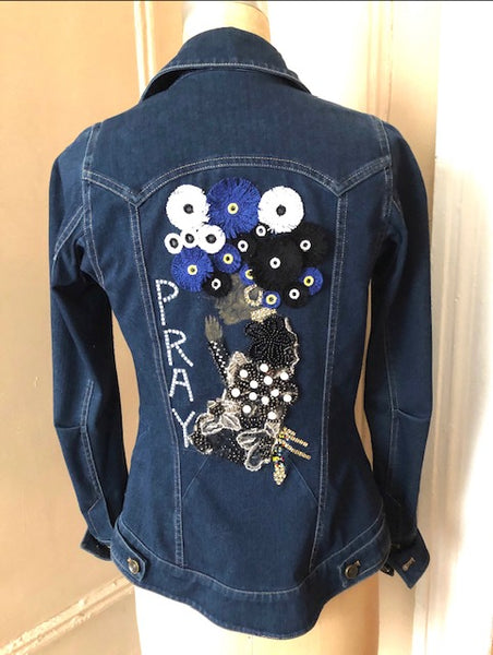 DISTRESSED DENIM SHIRT JACKET ( DESIGN YOUR OWN DENIM JACKET )