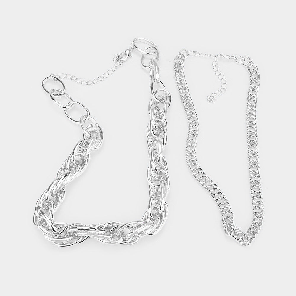2PCS- METAL CHAIN OPEN OVALO NECKLACES.