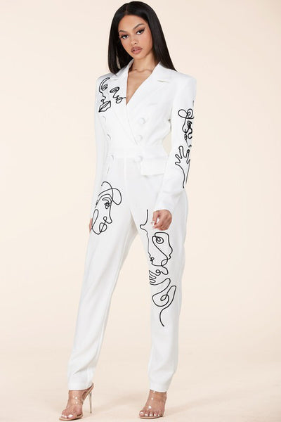 White Jumpsuit featuring a modern abstract design