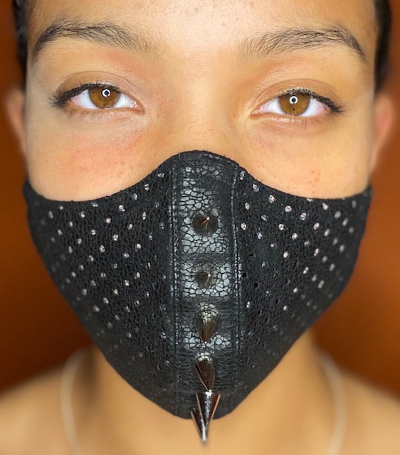 Geo Embroidered Striped Spike Face Mask