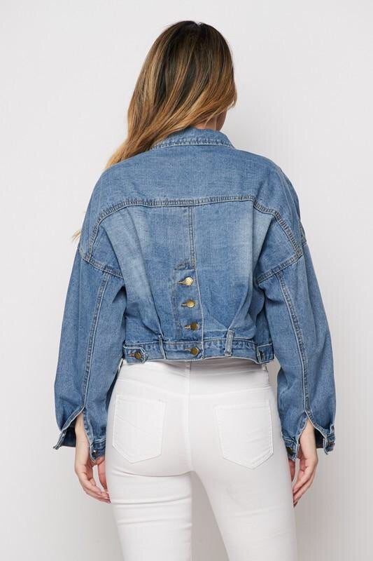Jean Jacket Button Oversize Denim Jacket ( DESIGN YOUR OWN DENIM JACKET )