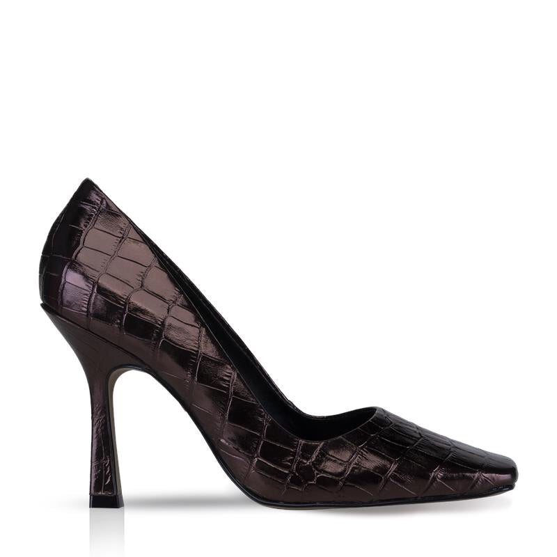 ADISON-PUMP SQUARE TOE EMBOSSED LEATHER CROCO METAL BROWN.