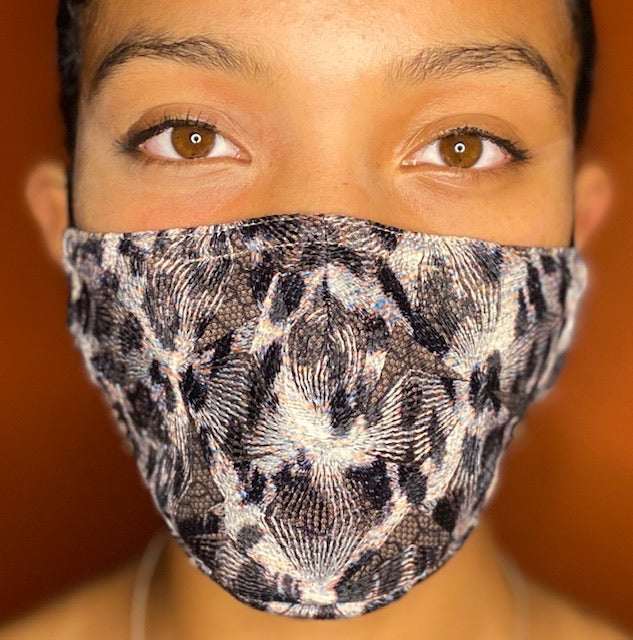 Geo Embroidered Net Face Mask