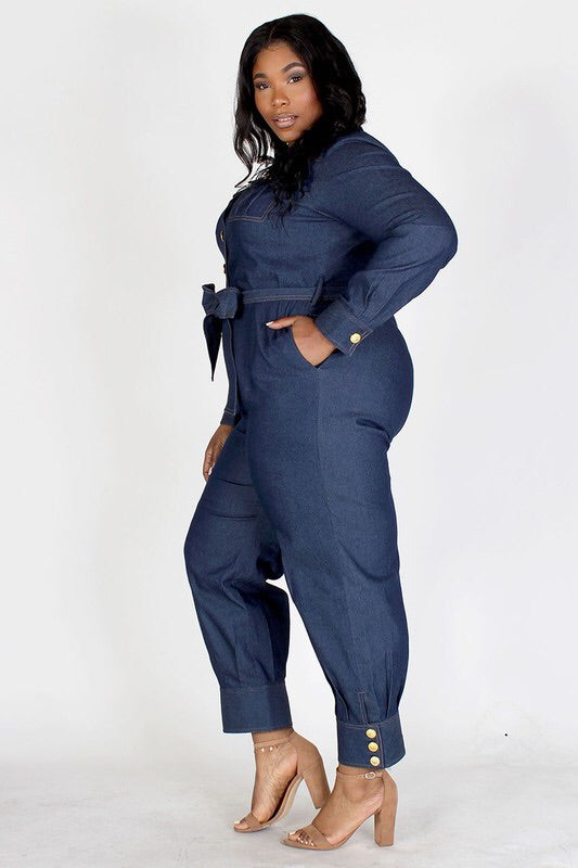 PLUS LONG SLEEVE DENIM JUMPSUIT.