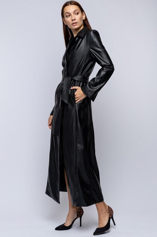 MAXI LENGTH FAUX LEATHER JACKET.