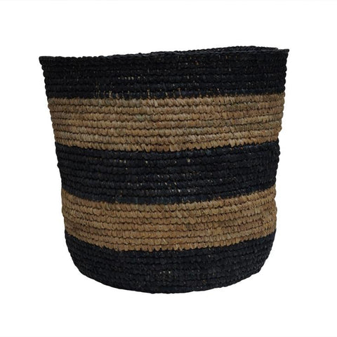McDaniel Korb Raffia Basket Stripe Black Large*