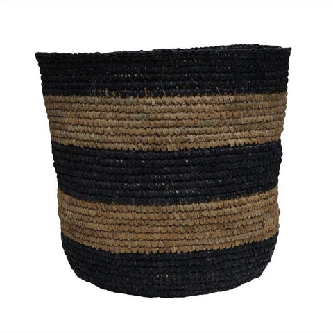 McDaniel Korb Raffia Basket Stripe Black Medium*