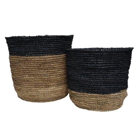 McDaniel Korb Raffia Basket Half Black Medium*