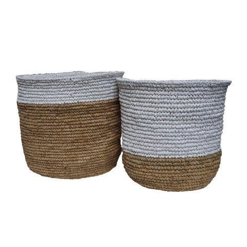 McDaniel Korb Raffia Basket Half White Medium*