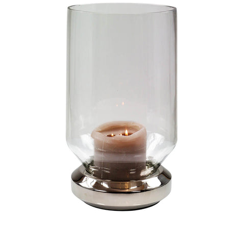 Forestier Paris Windlicht Glas Metallfuss silber