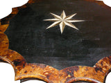 Antique Star Shape Marble Inlay Wood Mix Pedestial Table cs960S