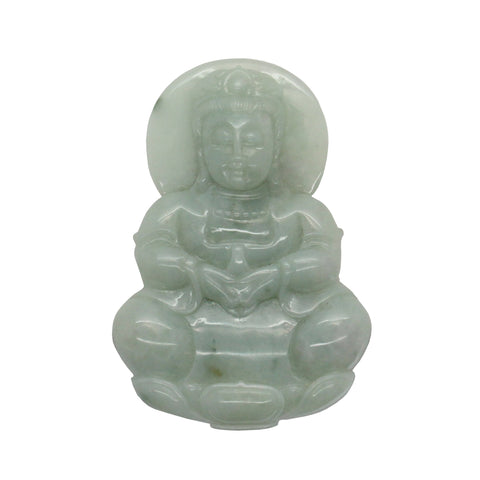Hand Carved Chinese Natural Jade Jadeite Carved Kwan Yin Ornament Pendant fs405