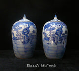 2 Chinese Porcelain Blue & White Small Jars