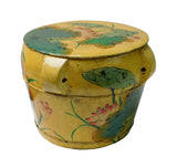 Chinese Antiques Redone Yellow Color Round Wood Container Bucket Lotus Flower Painting n123S