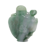 Carved Chinese Green Jade Snuff Bottle With Luyi, Money And Lucky Bat s1616NS