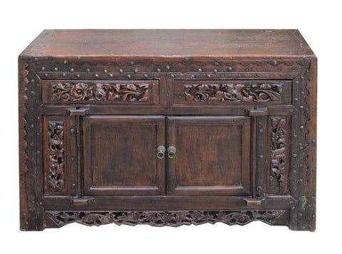 Chinese Antique Carving Lacquer Table TV Stand Cabinet wk2714S