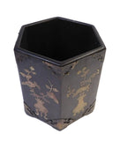 brush holder - wood pot - Chinese accent