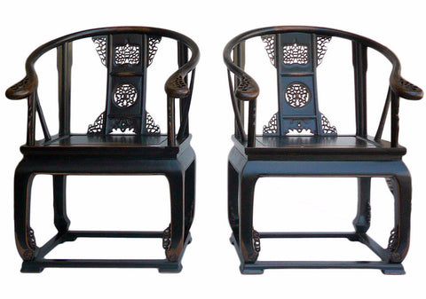 Chinese Black Lacquer Lotus Carving Bold Armchair , House Shoe chair cs1032S
