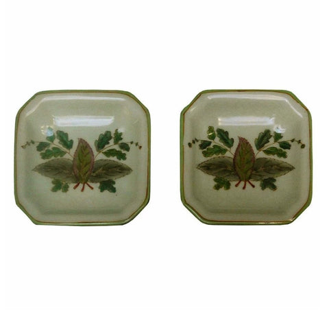 Lot Of 2 Quality Asian Artist Hand Painted Porcelain Display Square Dish vs075-2S