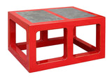 rectangular red coffee table with stone