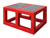 red coffee table with stone