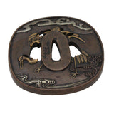 Bronze Quality Handcrafted Japanese Round Shape Tsuba With Cranes Birds n578S