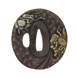 Bronze Quality Handcrafted Japanese Round Tsuba - Dragon Face Deity And Buddha Art n579S