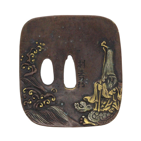 Bronze Quality Handcrafted Japanese Square Tsuba - Old Master Travel On Turtle n580S