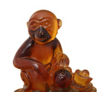 Chinese Liuli Crystal Glass Pate-de-verr Monkey Sitting On Money Statue n135S
