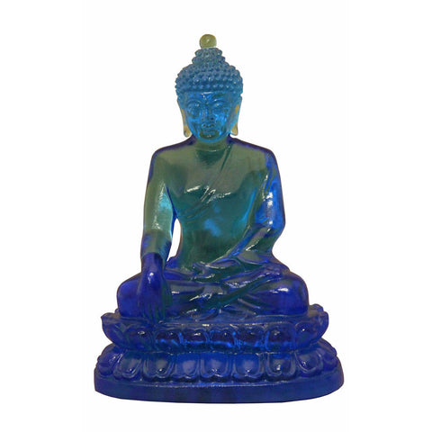 glass blue Buddha statue, Buddha on lotus statue