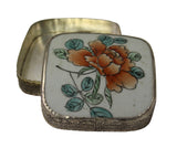 Chinese Old Colorful Flower Painting Porcelain Art Nickel Trinket Box n161S