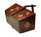Vintage Chinese Rectangular Pomegranate and Flowers Painting Food Bucket , Wedding Basket n188S