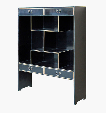 Modern Design Solid Wood Multi Level Black Lacquer Display Cabinet ...