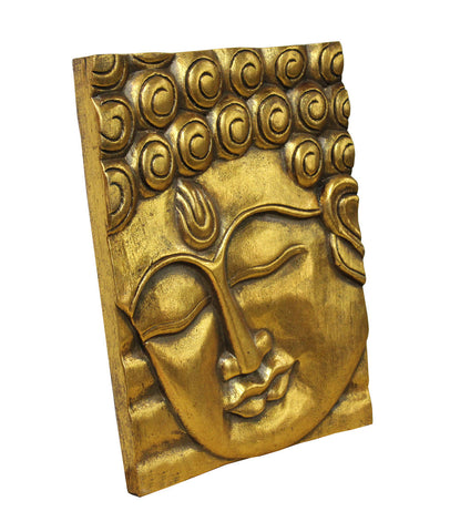 Master Wood Carving Gold Color Buddha Wisdom Serene Peaceful ...