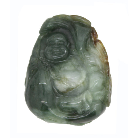Dark Green Jade Pendant Happy Buddha, Laughing Buddha Statue n467S