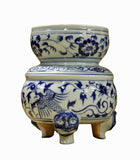 Chinese Blue White Porcelain Birds Container Vase fs112S