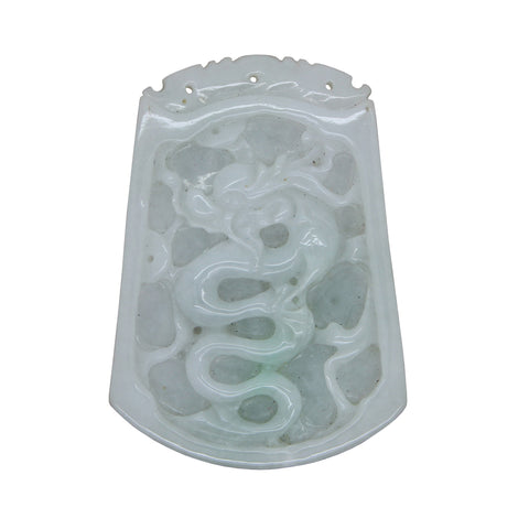 Natural Jade Chinese Rectangular Pendant Plate With Dragon and Luyi Flower Art n488S