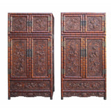 pair carved rosewood tall cabinet